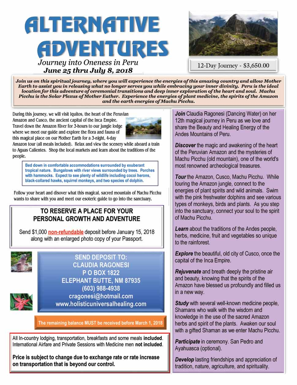 Alternative Adventures PERU 2018